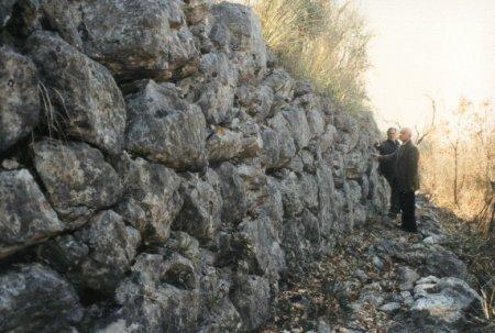 Il lato ovest delle mura poligonali di Costalunga.